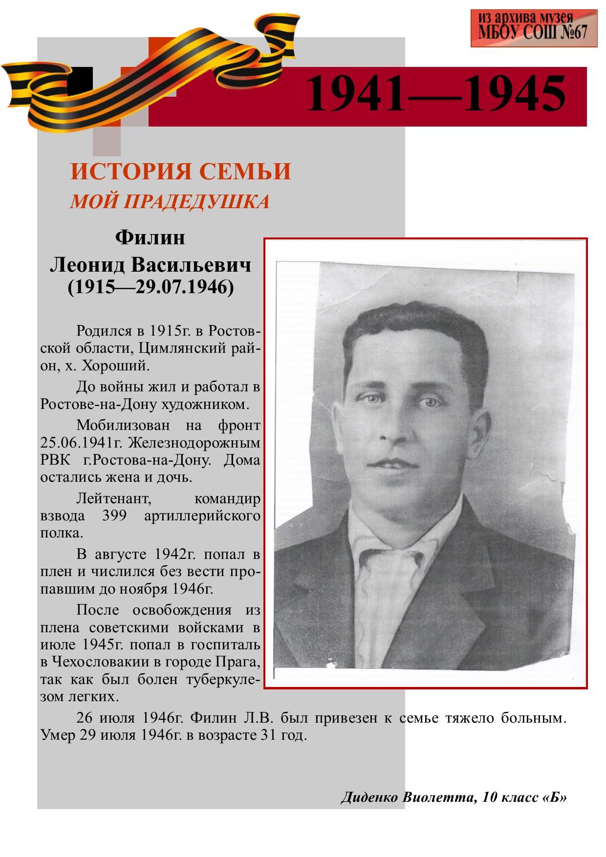 Филин Леонид Васильевич